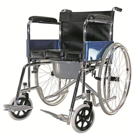 Manual Steel Bedpan Toilet Commode Wheelchair for Elderly Handicapped Disabled