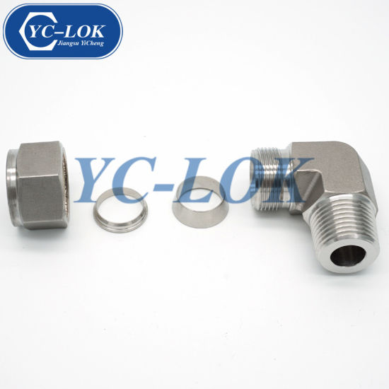 China Supplier Metric 90 Degrees Elbow Double-Ferrule Tube Fittings