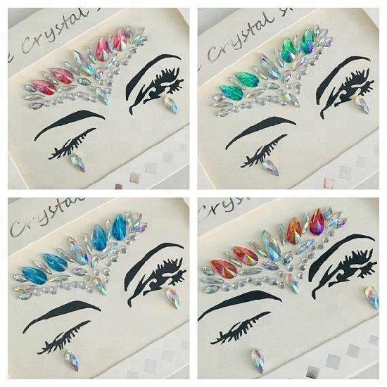 Factory price custom face gem stickers temporary tattoo rhinestone glitter sticker