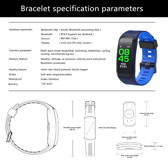 Timethinker Smart Bluetooth Bracelet GPS Monitor for Android Ios USB  Charger Waterproof Sports Blood Heart Rate Detector Universal F4