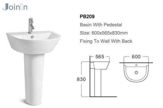 Sanitary Ware Bathroom Ceramic Wash Hand Pedestal Basin From Chaozhou Factory (PB209) pictures & photos