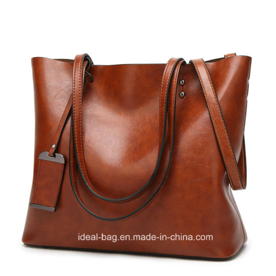 Fashion Designer Lady Shoulder Bag Handbag Huge Capacity Pu Leather Tote With Luggage Tag
