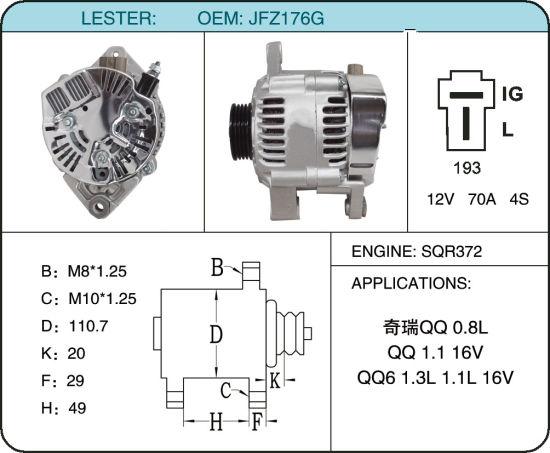 China Low Rpm Car Alternator Generator Chery Qq Jfz176g China Brake Auto Parts