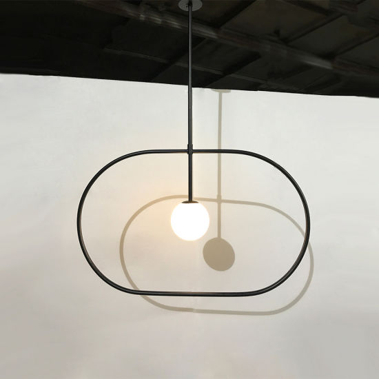 Pickled Milk White Glass Shade with Metal God Pendant Lamp.