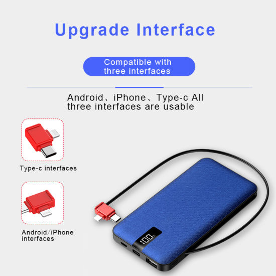Fabric PU Wrapped  10000mAh, Power Bank,   Portable Charger, with  3-in-1 Build-in Cable pictures & photos
