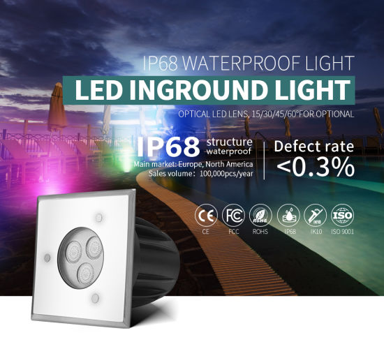 Low Power DC24V External Control Square LED Ground Pool Lighting