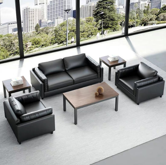 Wholesale Luxury Wooden Upholstered Office Sofa Furniture Real Leather Sofa