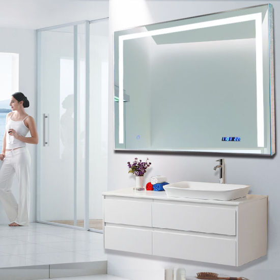 Factory Sale Frameless Wall Mounted Led Bathroom Mirror With Three Sides Lights China Wall Mirror Vanity Mirror Made In China Com