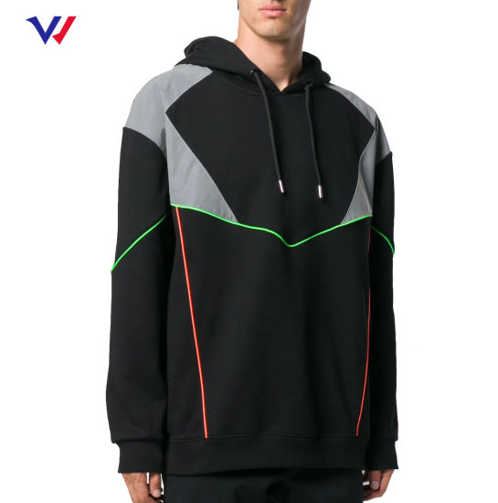Bulk Color Block Hoodies Clothing Custom 100% Polyester Men Windbreaker Pullover Hoodie Jacket