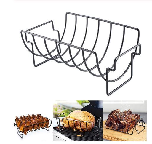 Non-Stick Rib Stand Barbecue Roast Rack Stainless Steel Grilling BBQ Basket Beef