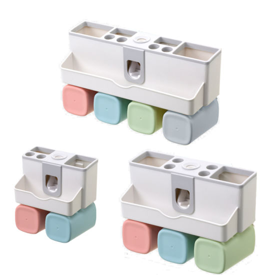 China New Product Ideas Eco Friendly Automatic Toothpaste Squeezer Dispenser Bathroom Wall Mount Toothbrush Holder Storage Rack 3 Cups China Plastic Toothbrush Holder And Toothbrush Dispenser Holder Price