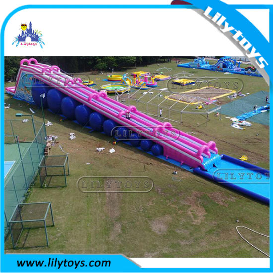 Excited Outdoor Long Pink Giant Inflatable City Water Slide for Sale