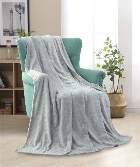 Solid Embossed Flannel Blanket Sofa Sleeping Knee Blanket Throw One Layer Waves Pattern