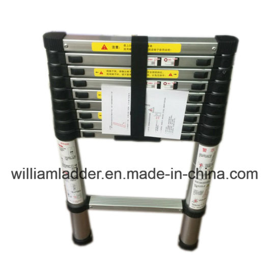 Single Telescopic Ladder 2.6m 9steps Aluminum Foldable Stairs En131 Certified pictures & photos