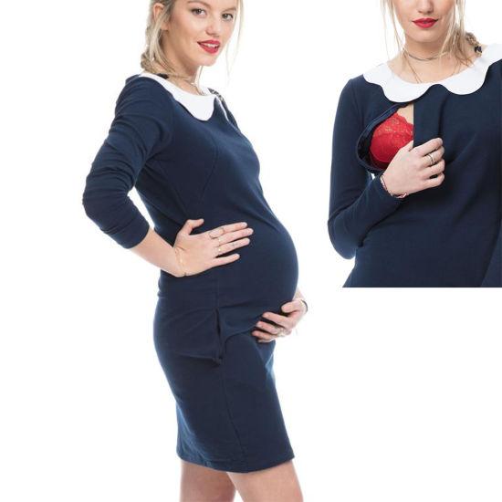 abd529eeee8 3in1 Women Chest Zip Side Pockets Flower Neck Maternity Breastfeeding Dress