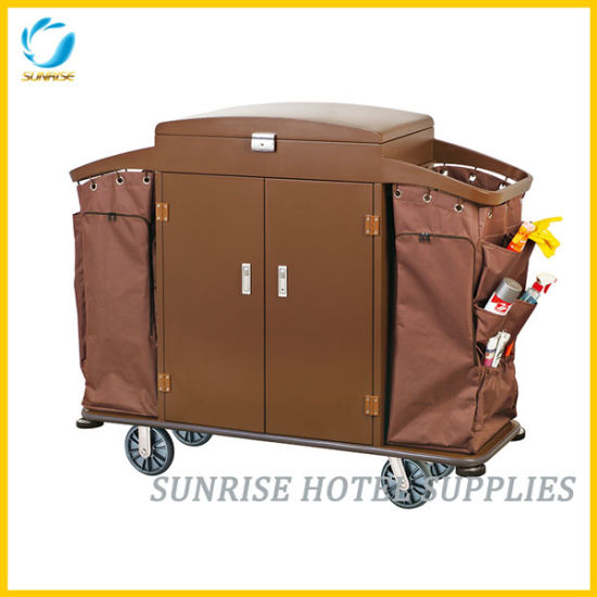 Linen Trolley Housekeeping Trolley with Door and Lock