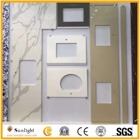 Customize Calacatta White Colors Artificial Quartzite Vanity Tops, Kitchen Countertops