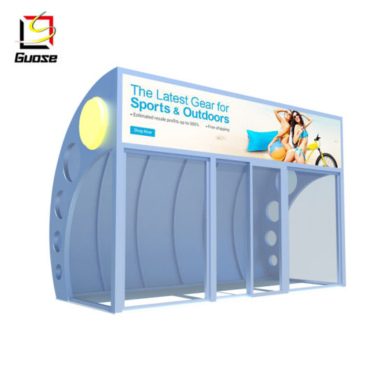 Indoor Air Conditioning Metal Bus Stop Shelter with Glass Door Bus Shelter