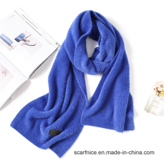 b637ef8234553 2018 Designer Winter Scarf Fashion Solid Thick Long Size Faux Fur Women  Scarves Warm Neck Rings Shawls