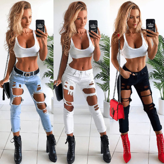 Large Size Factory Private Label Women's Sexy Hole Denim Pants Jeans