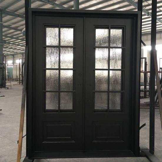 China Commercial Steel Security Double Doors Exterior China Door Elegant Hand Made Handles