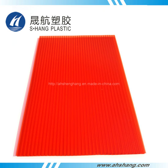 Red Color Polycarboante PC Twin-Wall Sunlight Sheeting pictures & photos