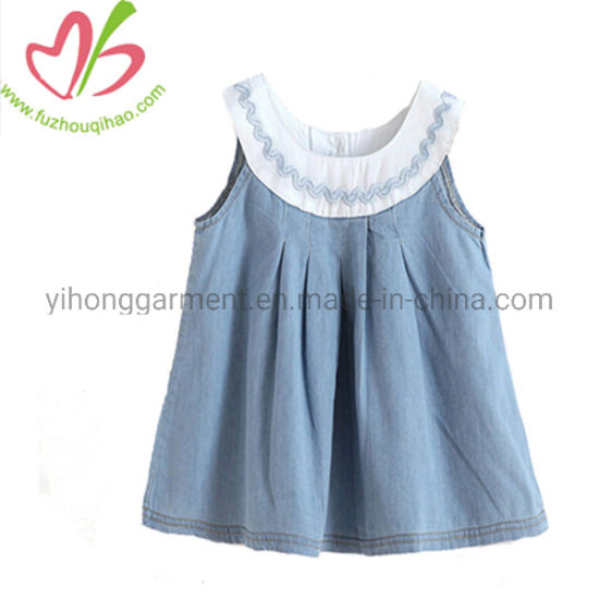 5de22f5d30 China Summer Teenage Girls Dresses Sleeveless Girls Denim Jean Dress ...