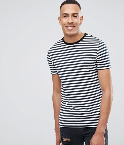 92ec4d717 Mens 100 % Cotton Custom Printed Promotion Tall Stripe T-Shirt in Navy and  White Tee