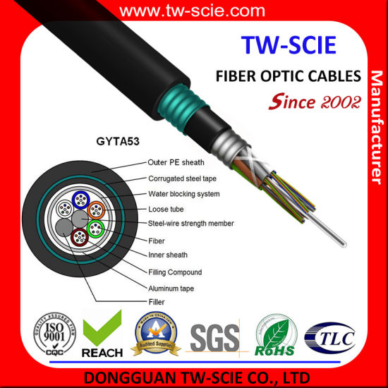 Direct-Burial Loose Tube Stranding Fiber Optic Cable of GYTA53 pictures & photos
