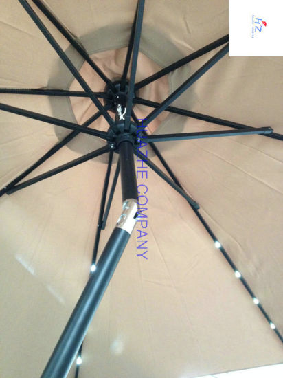2.7m 9ft Round LED Umbrella Garden Umbrella Patio Umbrella Outdoor Umbrella with Solar LED Umbrella pictures & photos