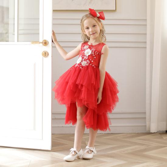 New 2019 Spring Summer Red Party Prom Kids Sleeveless Dresses for Children Girl