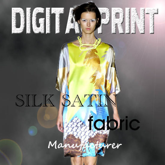 100% Polyester Digital Printed Satin Dress Fabric