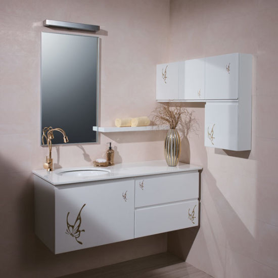Oppein Big Storage Golden Butterfly Nature Bathroom Cabinets (OP P1178 130)