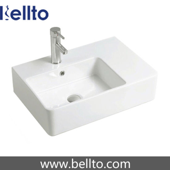 Wall Hung Ceramic Washbasin with Left and Right Bowl (3615-L) pictures & photos