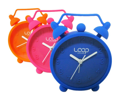 Promotional Kid′s Colorful Logo Printed Silicone Table Alarm Clock pictures & photos