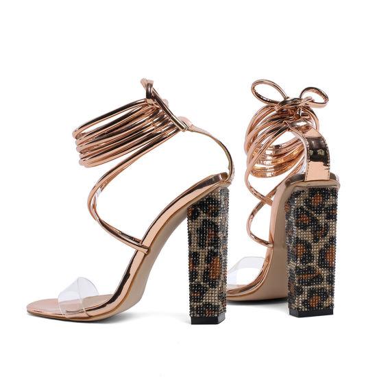 Leopard Clear Lace up Diamonds Block Heels Women Sandals Gold Patent Ladies Shoes