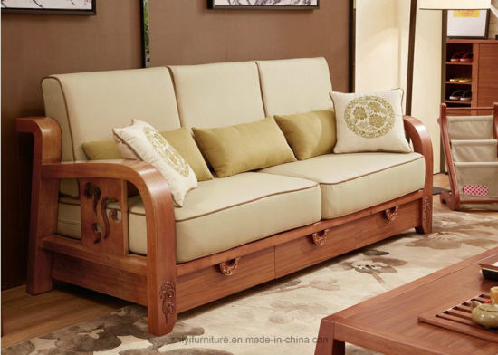 China Comfortable Living Room Home Furniture Solid Wooden Sofa Sets ...