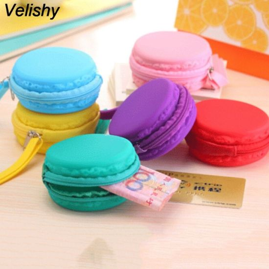 New 7 Colors Women Girls Cute Fashion Macaron Cake Shape Silicone Waterproof Coin Bag Pouch Purse Wallet Kawaii Purse pictures & photos