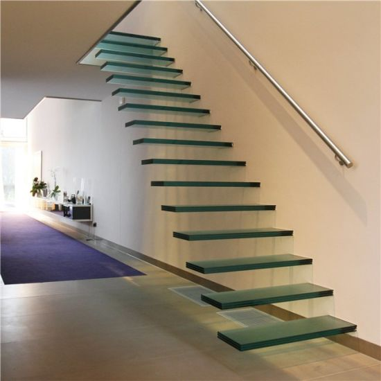 High Quality Tempered Glass Treads Floating Indoor Staircase