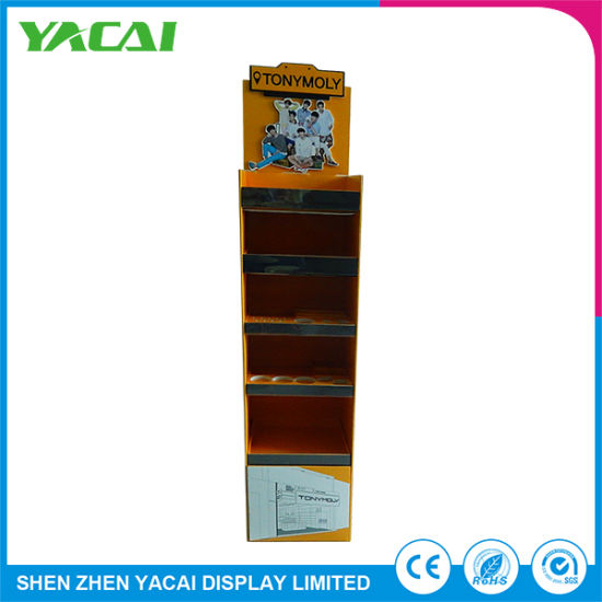 Speciality Stores Folded Security Paper Floor Cosmetic Display Stand pictures & photos