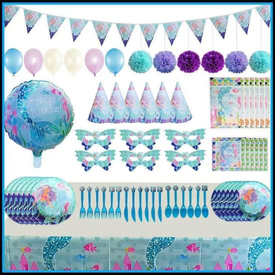 Mermaid Children′ S Birthday Party Decoration Cake Rack Tablecloth Paper Cup Birthday Hat Party Set