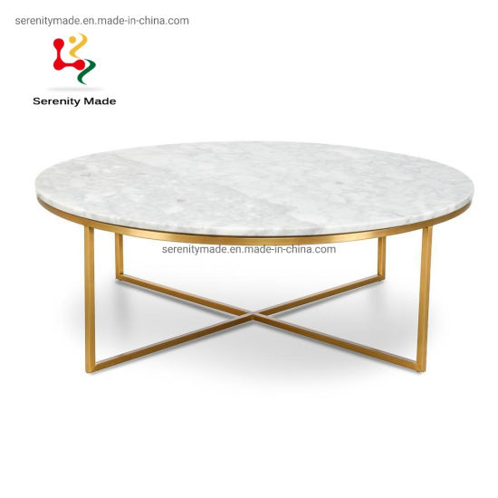 High Quality Coffee Round Marble Dining Table with 304 Stainless Steel Legs