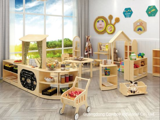 Cowboy Solid Wood Table and Chair Set Kids Playing Area Kids Cabinet Kids Painting Area
