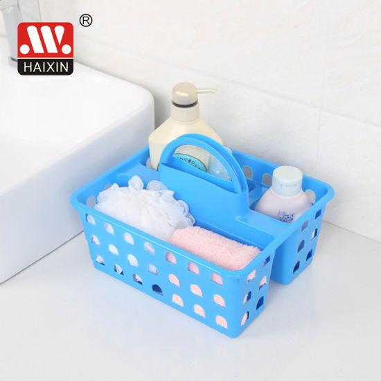 Plastic Storage Basket for Bathroom or kitchenware with Handle