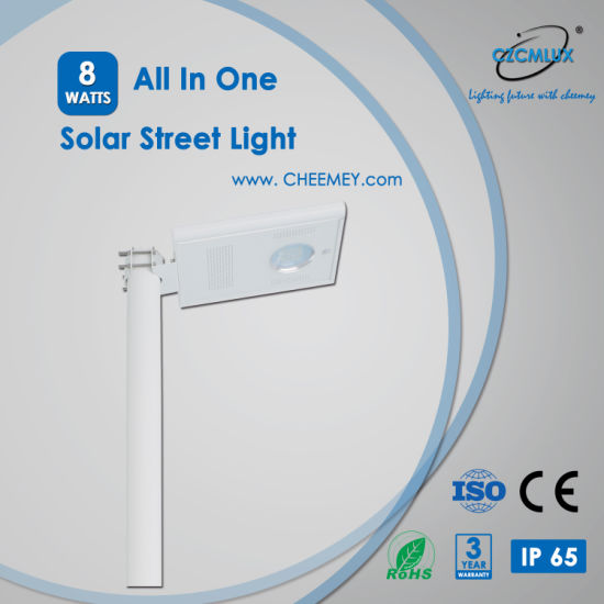PIR Sensor LED Solar Street Light with LiFePO4 Lithium Battery