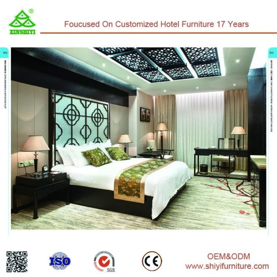 Environment Friendly Hotel Bedroom Furniture Sets Wood Style High Density Form