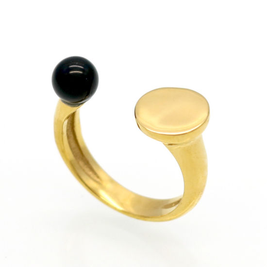 316L Steel 18k Real Gold Pearl Opening Ring Jewelry pictures & photos
