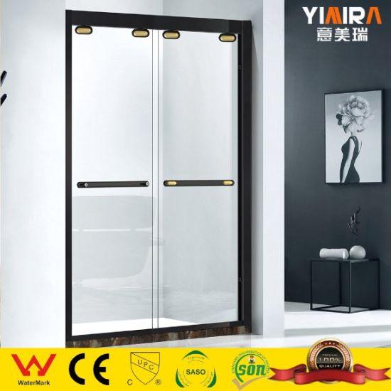 Europe Design Tempered Glass Sliding Shower Door with Black Ss Frame Shower Enclosure