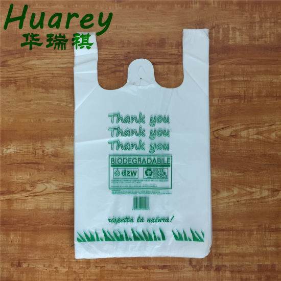 Customized Order Biodegradable Supermarket Used Cheap T-Shirt Plastic Bags