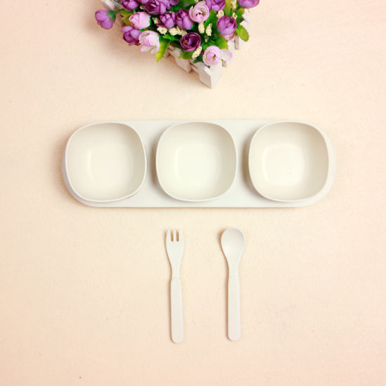 Baby See Points Tray Small Bowl Spork Suit Environmental Non-Toxic Ins Bamboo Fiber (YK-B3020) pictures & photos